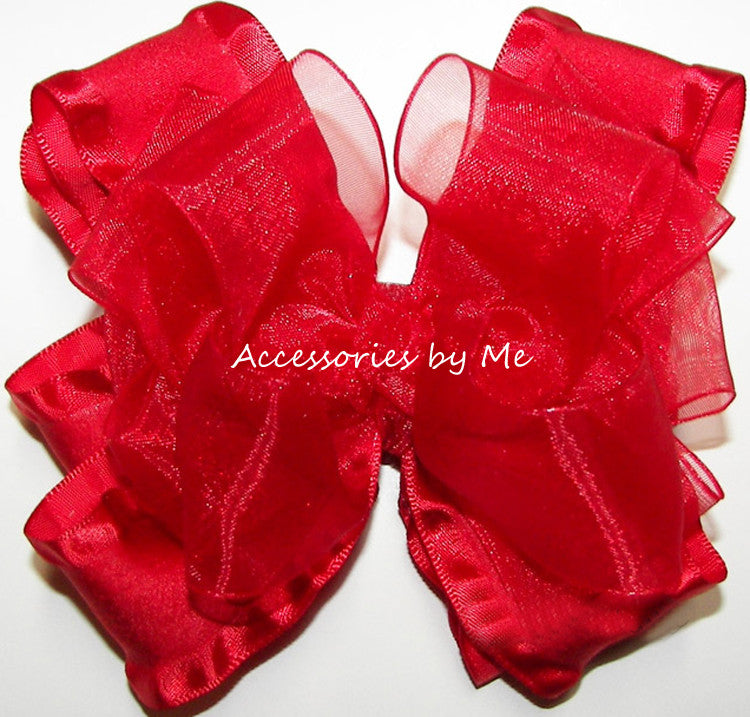 Red Organza Ruffle Hair Bow