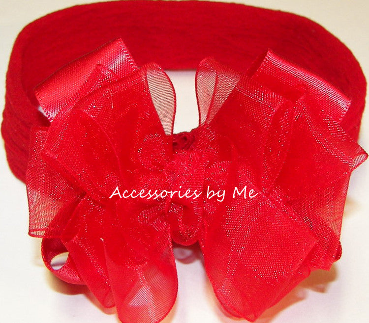 Red Organza Satin Bow Headband