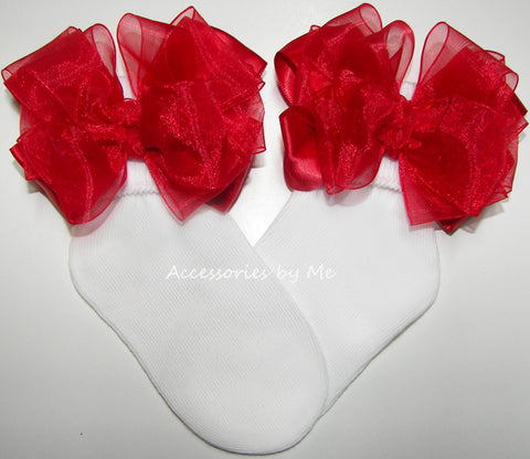Frilly Red Organza Satin Bow Socks