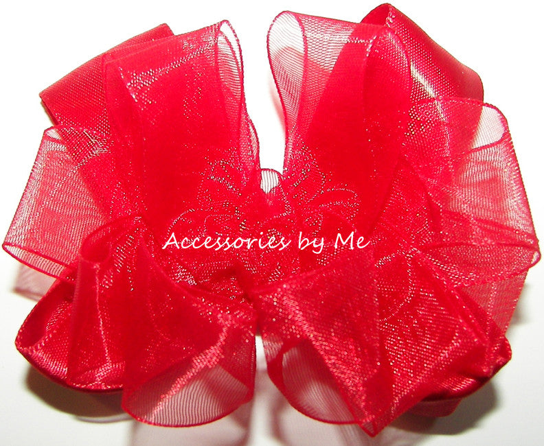 Red Organza Satin Hair Clip