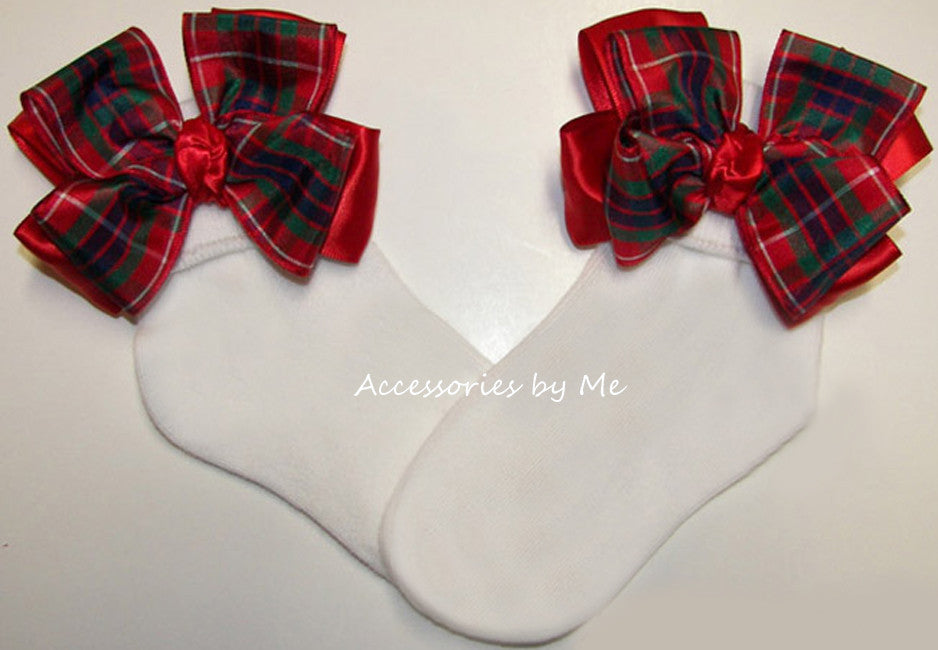 Tartan Plaid Red Royal Blue Green Bow Socks