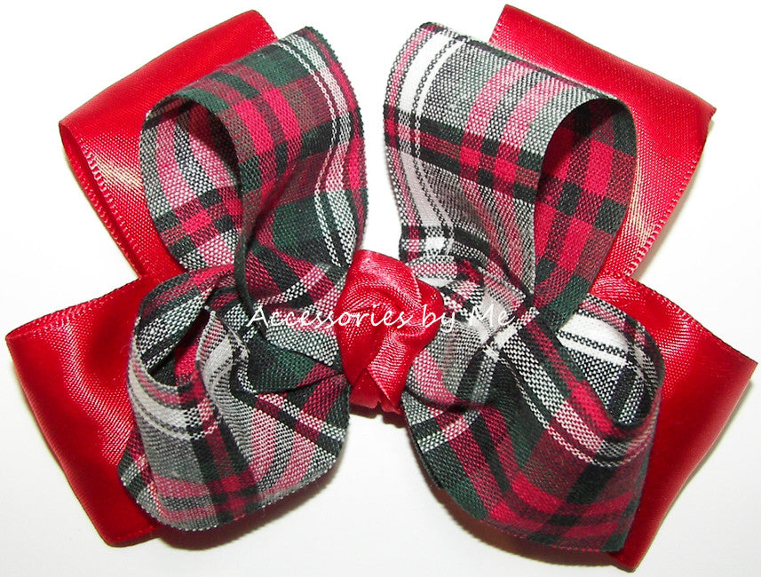 Tartan Red Green Black Plaid Bow Clip