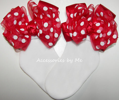 Red Polka Dot Bow Socks