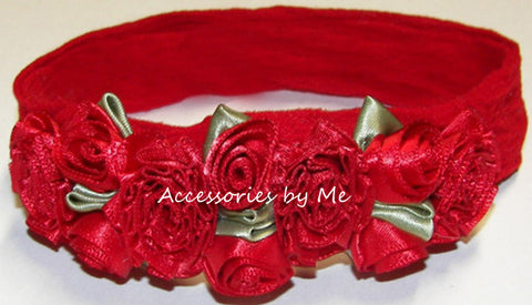 Fancy Red Rose Flowers Floral Nylon Headband