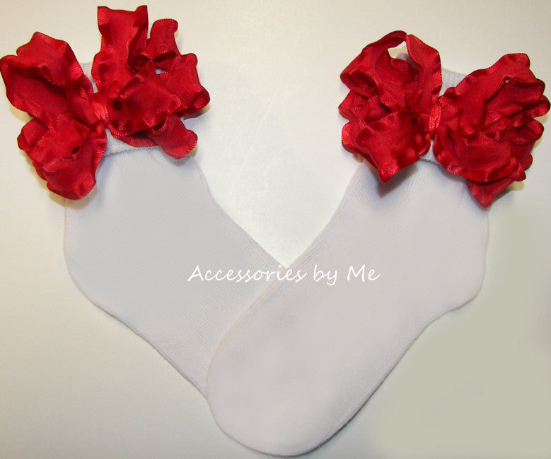 Frilly Red Ruffle Bow Socks
