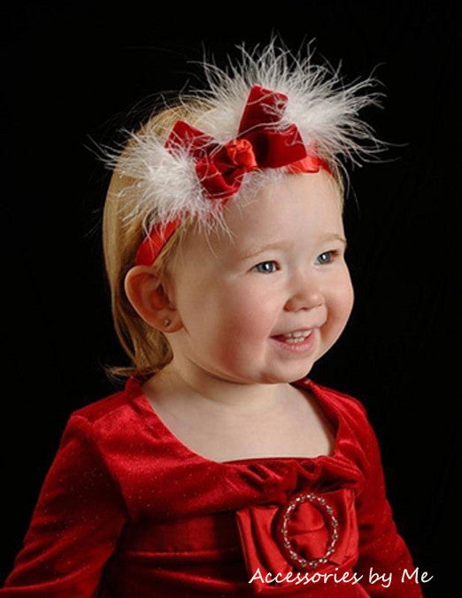 Red White Velvet Marabou Bow Headband