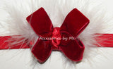 Red Velvet Marabou Bow Headband