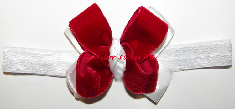 Christmas Red White Velvet Satin Bow Headband - Accessories by Me