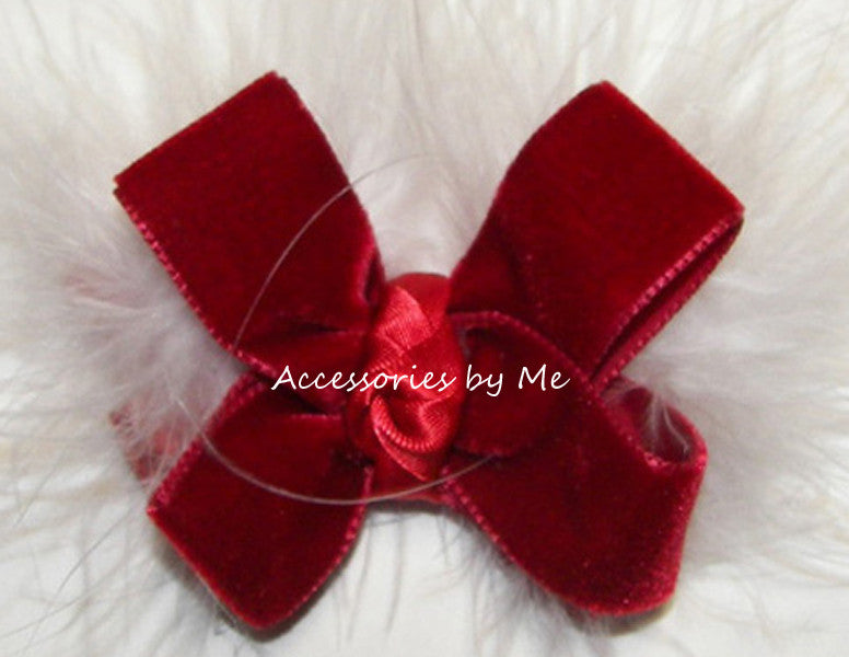 Christmas Red Velvet Marabou Hair Bow - Accessories by Me