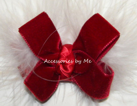 Christmas Red Velvet Marabou Hair Bow