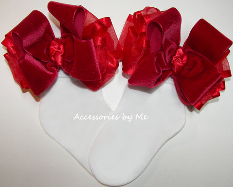 Velvet Organza Satin Bow Socks