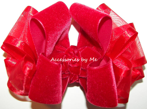Red Velvet Organza Hair Bow