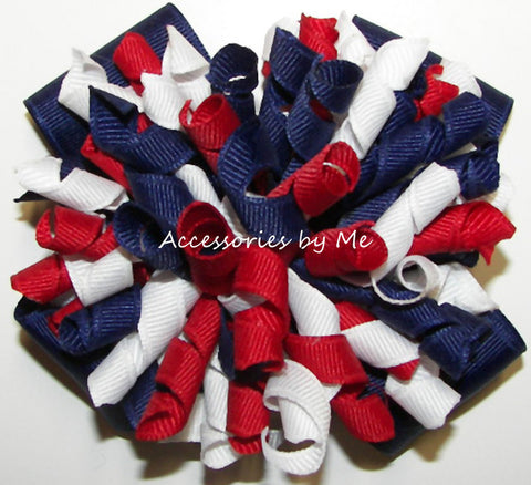 Patriotic Korkers Red White Navy Blue Hair Bow