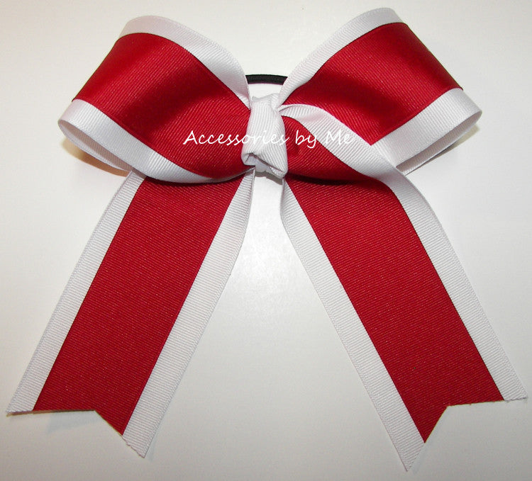Wholesale Red White Ponytail Holder Cheer Bow