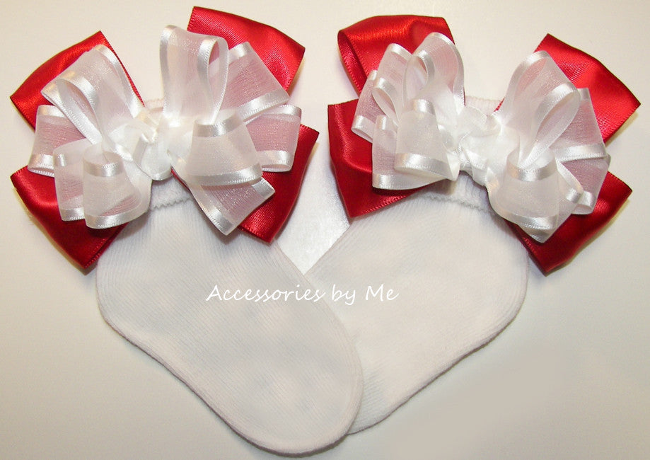 Frilly White Red Organza Satin Bow Socks - Accessories by Me