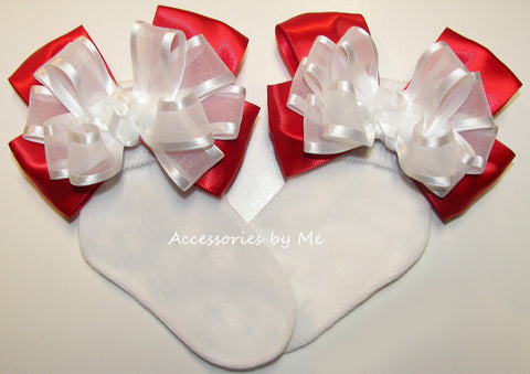 Frilly White Red Organza Satin Bow Socks