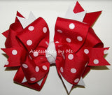 Funky Red White Polka Dot Pigtail Hair Bows - Accessories by Me