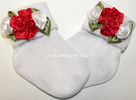 Frilly Red White Rose Flower Socks