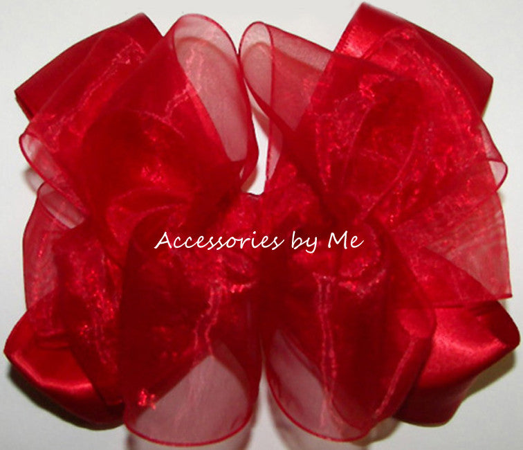 Girls Dressy Red Organza Satin Hair Bow - Accessories by Me