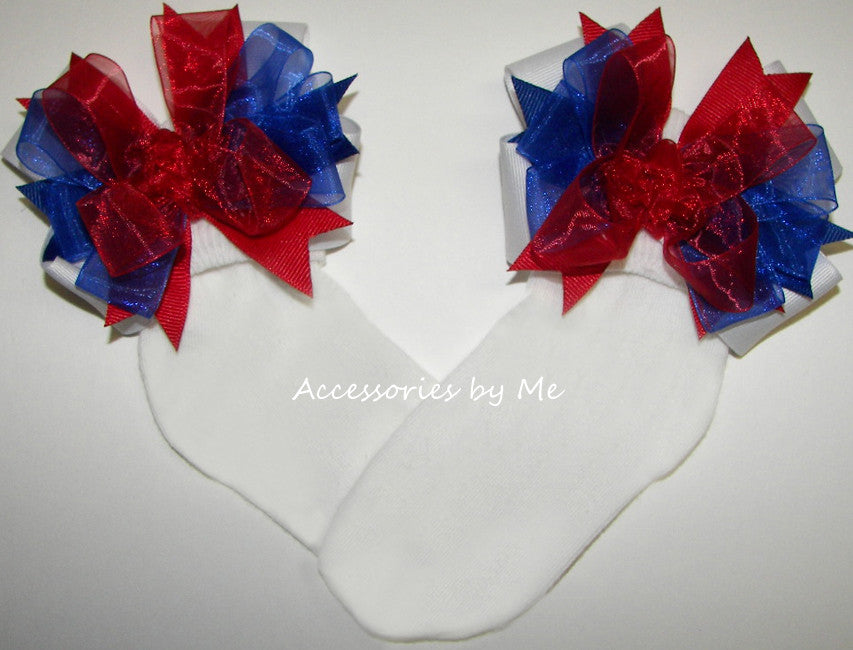 Patriotic Red White Blue Bow Socks - Accessories by Me