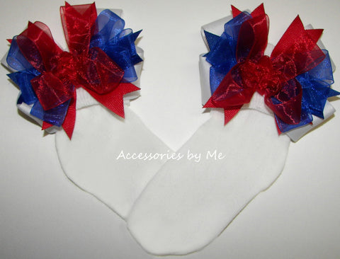 Patriotic Red White Blue Bow Socks
