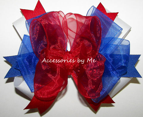 Patriotic Red White Blue Funky Hair Bow
