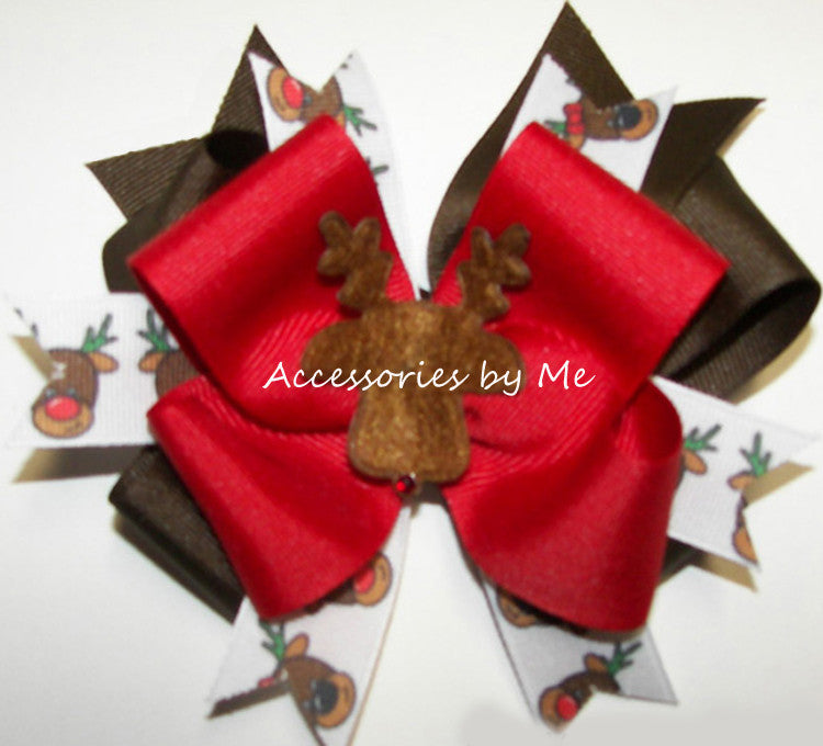 Rudolph Red Nose Reindeer Hair Bow