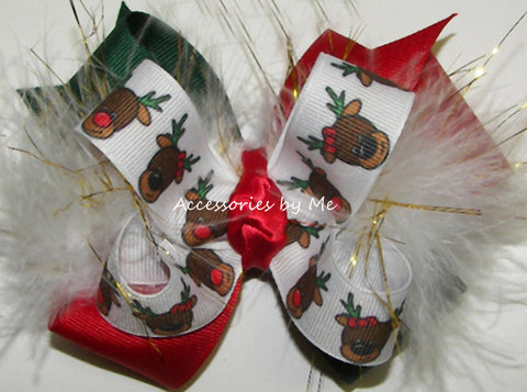 Christmas Red Nose Reindeer Marabou Hair Bow