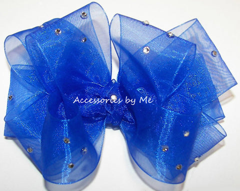 Glitzy Royal Blue Organza Hair Bow