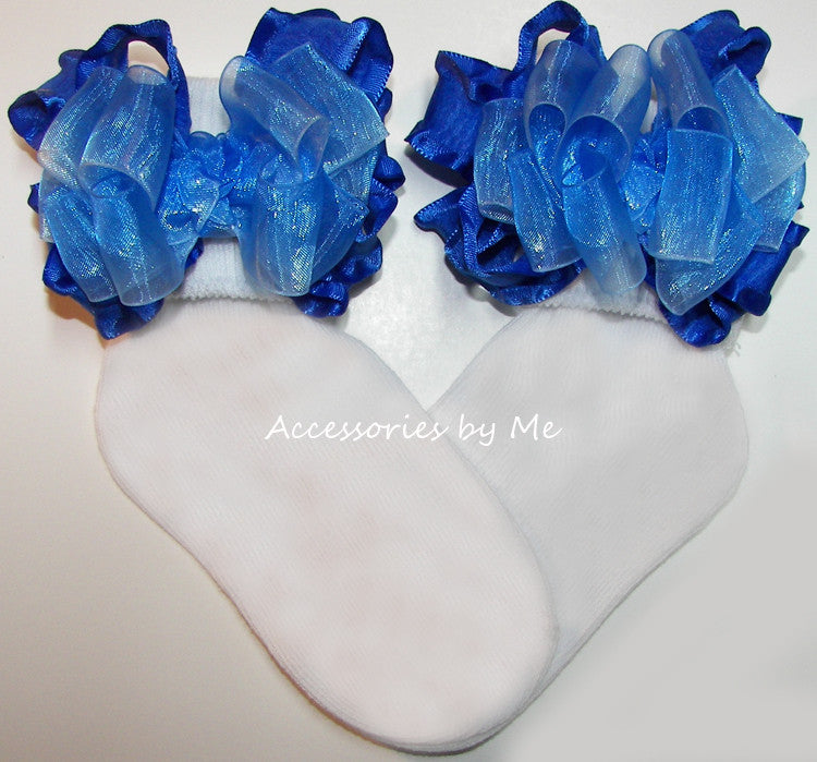 Frilly Royal Blue Ombre Organza Ruffle Bow Socks - Accessories by Me