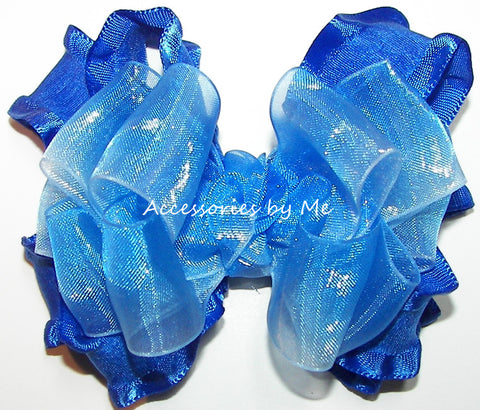 Frilly Royal Blue White Ombre Organza Ruffle Hair Bow