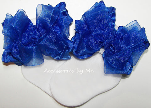 Girls Frilly Royal Blue Organza Ruffle Bow Socks