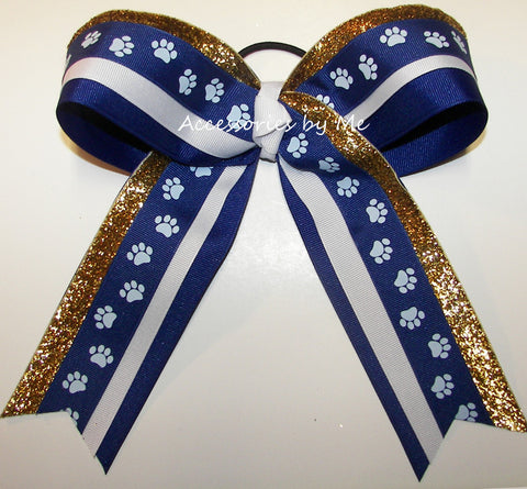 Paw Print Royal Blue Gold Big Cheer Bow