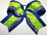 Royal Blue Lime Silver Glitter Big Cheer Bow