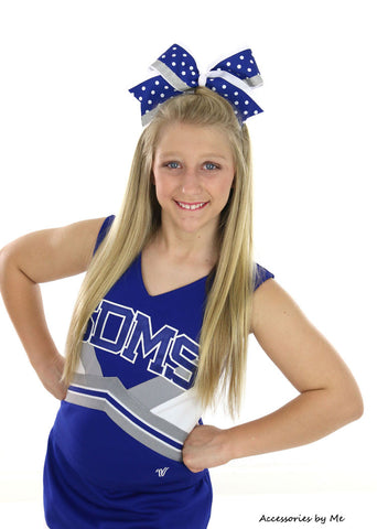 Royal Blue White Big Cheer Bow