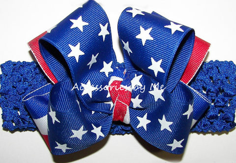 Patriotic Stars & Stripes Bow Crochet Headband