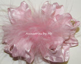 Frilly Ruffle Marabou Hair Bow - Accessories by Me