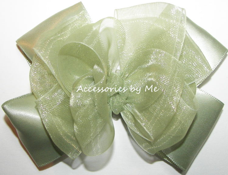 Sage Green Organza Satin Hair Bow