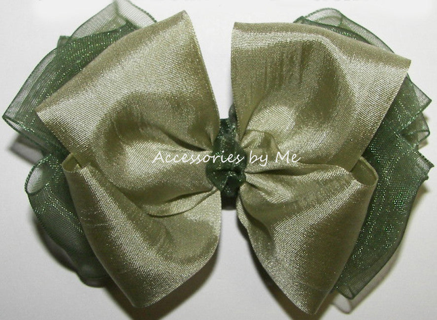 Sage Green Pure Silk Organza Ribbon Hair Bow