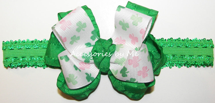 Frilly St. Patrick's Day Shamrock Ruffle Bow Lace Headband - Accessories by Me