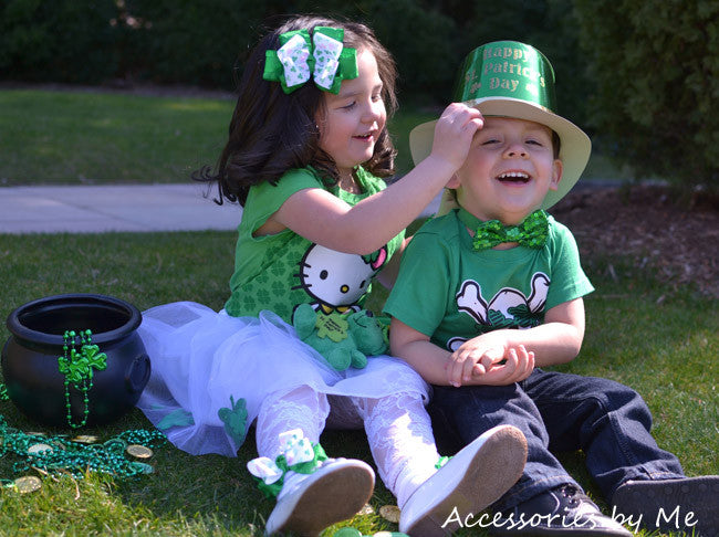 St. Patrick's Day Shamrock Ruffle Bow Socks