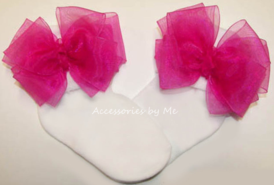 Fuchsia Pink Organza Bow Socks - Accessories by Me