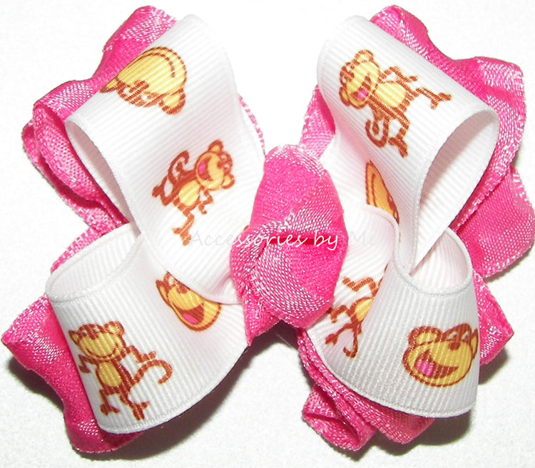 Silly Monkey Hot Pink Ruffle Hair Bow