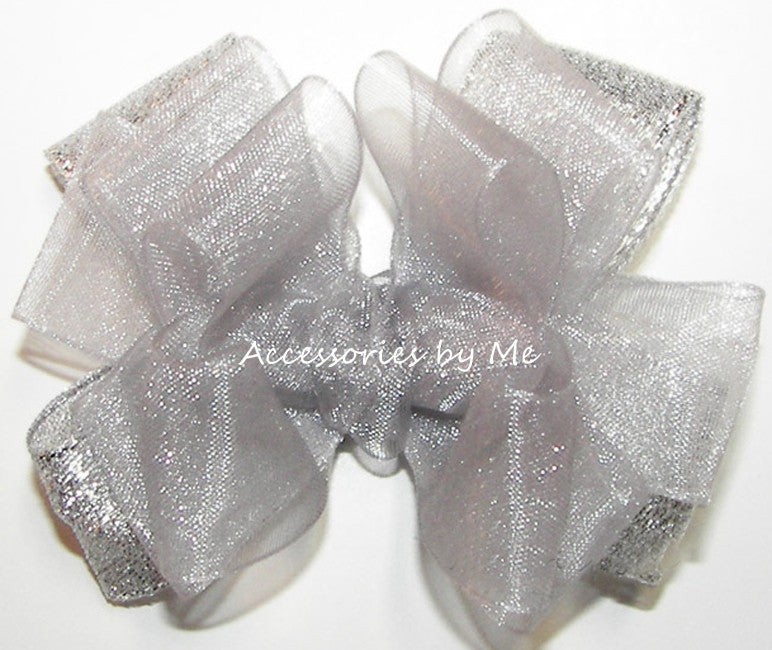 Fancy Silver Organza Metallic Hair Bow - Accessories by Me