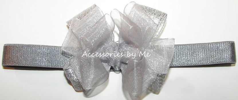 Infant Silver Gray Organza Metallic Bow Headband - Accessories by Me
