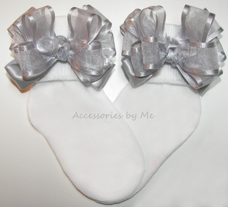 Frilly Silver Organza Satin Bow Socks - Accessories by Me