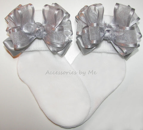 Frilly Silver Organza Satin Bow Socks