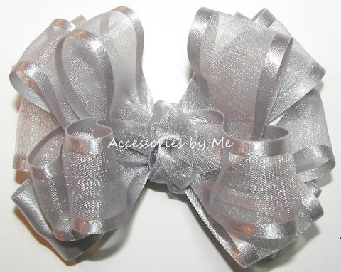 Fancy Silver Organza Satin Hair Bow