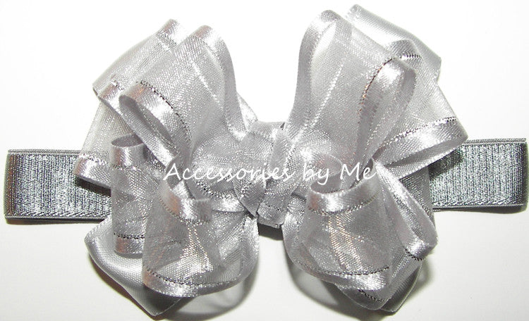Silver Organza Lame Trim Bow Headband