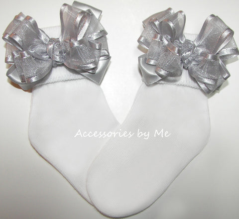 Dressy Silver Organza Satin Lame Bow Socks